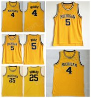Wholesale free shipping basketball team jerseys resale online - College Jersey Michigan Wolverines Basketball Jalen Rose Chris Webber Juwan Howard Jerseys Men Team Yellow Stitched