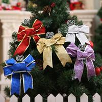 ingrosso scatole di ornamento di natale-Grande fiocco di scintillio albero di natale decorazione regalo presente scatola fai da te Decor Capodanno natale ornamenti di natale ghirlanda ghirlanda fiocchi 25 cm CFG43