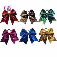 "Wholesale Reversible Fabric - 7"" Reversible Mermaid Two Tone Sequin Cheer Bow With Ponytail Holder Girl Kids Handmade Large Bling Fish Scale Fabric"