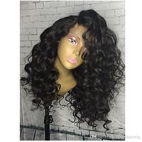 peluca afro rizada resistente al calor al por mayor-Envío rápido a prueba de calor 1b # 2 # 4 # 6 # 613 # Afro rizado rizado peluca del frente del cordón Gluelese pelucas sintéticas del frente del cordón para las mujeres negras