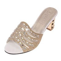 Wholesale diamond gladiator sandals online - new European high quality bling women sandals wedges shoes for women fashion ladies high heels diamond slip on shoes woman sandals