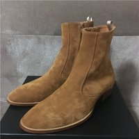 Wholesale buckle knee high wedge boots for sale - Real picture High Top Suede Genuine Leather Harry wyatt charm Zip Men Boots wedge slp fashion men classicial catwalk top fashion boots