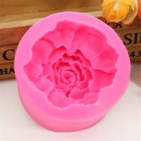 büyük silikon kalıp pastası toptan satış-3D Büyük çiçekler güller sabun kalıp çikolatalı kek dekorasyon araçları DIY pişirme fondan silikon kalıp E557