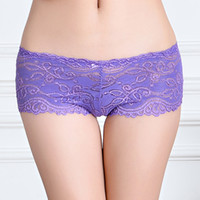 Wholesale ladies pretty panties - Pack of 5 pc New pretty lace boxer short Sheer lace hipster hot knickers sexy women underwear lady panties lingerie intimate
