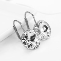 Wholesale Drop Earrings Make Swarovski - Boucle D'oreille Femme Made With Swarovski elements Elements Crystal New Fashion Brands Round Shape Drop Earrings Gift For Mother's Day