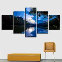 Wholesale picture full moon - Home Decor HD Prints Landscape Poster 5 Pieces Full Moon Canvas Paintings Mirrored In The Lake Water Pictures Modular Wall Art