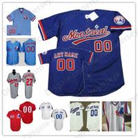 camisolas venda por atacado-Personalizado Montreal Expos Baseball Camisas # 12 Tom Brady 27 Guerrero 34 Harper 45 Martin 8 Carter Branco Vermelho Pulôver Azul Malha BP Cinza Do Vintage