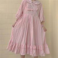 ingrosso abiti da principessa giapponese-Summer Japanese Women White Lolita Dress 2018 Girls Bowknot Kawaii Abiti plissettati Vintage femminile classico Princess Ruffle Dress