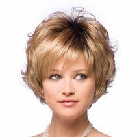 wellige kurze perücke großhandel-Mode Peruca Kurze Blonde Synthetische Haar Natürliche Lockige Wellenförmige Frauen Parrucca Grigia Perücken + Freie Perücke Kappe