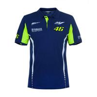 el competir con de la motocicleta t shirts al por mayor-Moto GP Riding para Yamaha Team Polo Camiseta MENS Motorcycle Racing Blue T-shirt