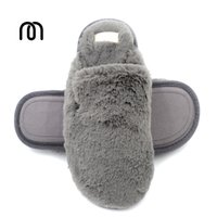 Wholesale Fluffy Animal Slippers - Millffy new imitation rabbit hair thick super warm velvet slippers instep wrapped indoor comfortable plush fluffy slippers