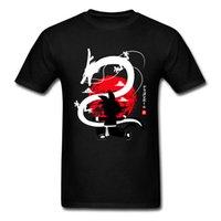 ingrosso camicia nera di kung fu del cotone-Kung Fu Dragon Tshirt Uomo Dragon Ball Top Son Goku Maglietta Anime Tshirt Abbigliamento stile giapponese Cotone Nero Rosso