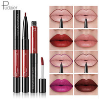 Wholesale tattoo lips tint online - Pudaier In1 Matte Lip Gloss Lip Liner Maquiagem Profissional Completa Agate Red Lip Tint Plumper Tattoo Makeup Liquid Lipstick