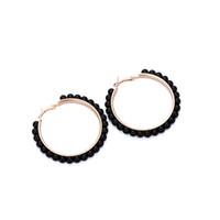 goldkreishaken großhandel-Frauen Korean Modeschmuck Nachahmung Perle Gold Silber Farbe Ohrbügel Hoop Kreis Ohrringe Für Weibliche Kühlen Stil Schmuck