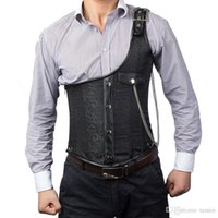 bbd30ad781b Wholesale- Vintage Black Brocade Buckled One-shoulder With Chain Gothic  Jacket Men Steampunk Corset Vest Top Mens Waistcoats Clothing