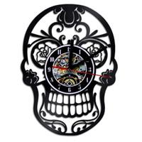 relógios de parede de 12 polegadas venda por atacado-Forma de cabeça do crânio relógios de parede 12 polegadas discos de vinil relógio de quartzo criativo de alta precisão relógio para decoração de casa 60md b