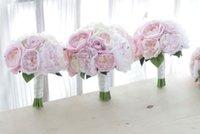 neue rosa rosensträuße großhandel-Neuer kundenspezifischer koreanischer Arthochzeitsblumenstrauß rosa Pfingstrosenrosenbrautbrautjungfernblumenstrauß