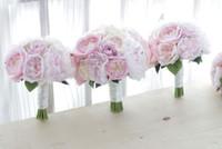 yeni pembe gül çiçekleri toptan satış-Yeni özel Kore tarzı düğün buket pembe şakayık gül gelin gelinlik buketi