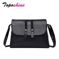 5c8b4e2b1992 Toposhine Brand New Cool Solid Black Korean Style Saddle Women Shoulder Bag  High Quality PU Leather Zipper Elegant Lady Bags