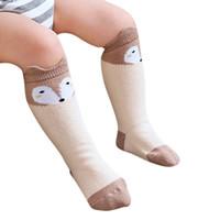 calcetines altos de gato al por mayor-Algodón Calcetines para bebés Impreso Animal Rodilla Alta Niños Boy Girl calcetines antideslizante de dibujos animados gato pierna calentadores 0-4Y