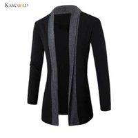 свитер с капюшоном оптовых-мужские зимние куртки мужская мода одежда пальто свитер тонкий длинный рукав кардиган теплый пальто мужчины и пиджаки GBY0h