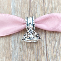 Wholesale Wholesale Jasmine Flowers - Crown 925 Sterling Silver Beads Jasmine Tiara Charm Fits European Pandora Style Jewelry Bracelets & Necklace 7501055890332P