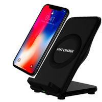 Wholesale mobile phone fast charger for sale - Fast Wireless charger Mobile Phone Charging Stand pad for samsung s6 s7 edge s8 s9 note iphone x with retail box