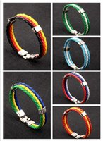 Wholesale fan souvenirs for sale - Group buy Discount cheap woven flag color leather bracelet World Cup fans exclusive soccer gift Souvenirs new Student mens hand chain gifts