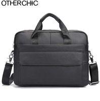 Wholesale laptop bags handles 13 resale online - OTHERCHIC Business Genuine Leather Men Briefcase Cowhide Men s Messenger Bags quot Laptop Business Bag Lawyer Handbag