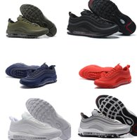 Wholesale Black Cushioned High Tops - High quality Air Cushion 97 men running shoes top quality mens sports shoes sneakers black red blue grey white green 40-46