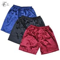 homens pijamas curtos venda por atacado-Tonycandice 3 pçs / lote dos homens de cetim de seda boxers pijama calças curtas shorts pacote de pijama roupa interior para homens sleep bottoms