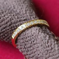 24k полный золотой бесплатная доставка оптовых-Горячие продажи половина полный алмазов микро проложить покрытием 24 K желтое золото кольца Сона синтетический алмаз обручальные кольца для женщин Бесплатная доставка