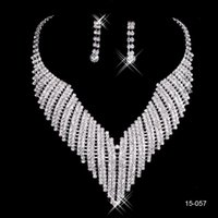 Wholesale Wear Trendy - Cheap New Ship Hot Sale Holy White Rhinestone Crystal Flower Earring Necklace Set Bridal Party Wear