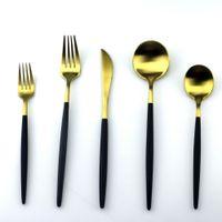 ingrosso set da pranzo nero-5Pcs / Lot Set di posate Black Handle Set di posate in acciaio inox 18/10 Set di posate Forkware Set di posate per la casa