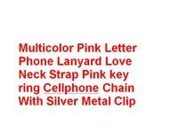 toque para celular venda por atacado-Multicolor Rosa Letra Telefone Cordão Amor Pescoço Correia Rosa anel chave Corrente de Celular Com Clipe De Metal De Prata B11