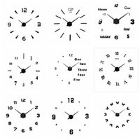 Wholesale acrylic craft - Wholesale 18 Styles Silver Black Acrylic Wall Clocks Stickers Home Decor Bedroom Decoration Wall Mirror wallpaper Household Craft Suppiles