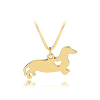 Wholesale rhinestone pet charms - Pet Rescue Animal Lovers Jewelry Dachshund Necklace Silver Puppy Heart Cut Off Dog Breed Pet Memorial Charms Choker