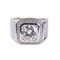 Wholesale handmade rings silver - Stunning Handmade Fashion Jewelry 925 Sterling Silver Popular Round Cut White Topaz CZ Diamond Full Gemstones Men Wedding Band Ring Gift