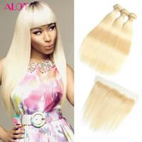 cheveux humains tisse blonde achat en gros de-613 Blonde Bundles Brazilian Hair Brésilienne Blonde Blonde Straight Weave 3 Bundles Avec Dentelle Frontale 13 * 4 Dentelle Frontale Oreille À L'oreille