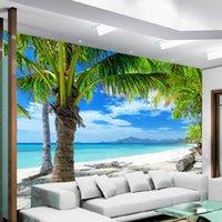 oturma odası minimalist duvar kağıdı toptan satış-Koltuk Salon TV Arkaplan Fotoğraf Duvar kağıdı Boyama Özel 3D Duvar Akdeniz Modern Minimalist Sea Beach Coconut Duvar