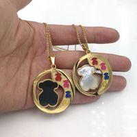 Wholesale black pearl choker necklace - New design Multicolor Enamel Pink red black white shell pendant bear style 18k gold necklace for Women El oso de collar