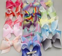 robes à la mode achat en gros de-16 couleurs arc en ciel JOJO arcs pour filles mélanger les couleurs cheveux arcs pour les enfants à la mode enfants cheveux accessoires fête d'anniversaire Dressing Up kit de bricolage