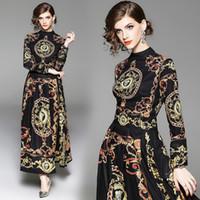 langes abendessen kleidet ärmel großhandel-Herbst Kleid mit schwarzen europäischen Palast Vintage Barock Print hohe Taille Langarm Frauen Kleider für elegante Party Engagement Abendessen