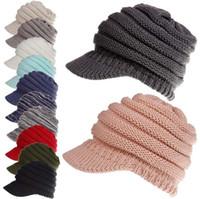Wholesale football crochet beanie - Winter Ponytail Hats 12 Colors Knitted Baseball Beanie Warm Caps Crochet Hat Messy High Bun Cap Outdoor Beanies OOA5319