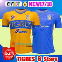 Wholesale Shirt Stars - 2017 NEW Tigres UANL soccer jerseys thai quality 17 18 Mexico club Maillot De Foot Home yellow away 6 star GIGNAC football shirts