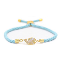 couples pendants UK - Ocean Style Zinc Alloy Gold Crystal Shark Pendant Bracelets Blue Rope Handmade Bracelet for Couple Charm Jewelry MBR180276