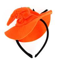 ребенок оранжевый колпачок оптовых-Хэллоуин забавный оранжевый тыква Cap смотреть стиль головы декор волос Застежка детские дети дети Хэллоуин партии головные уборы