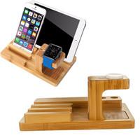 ipad şarj yuvası toptan satış-Çok Fonksiyonlu Doğal Bambu Ahşap Şarj İstasyonu Şarj Dock Cradle Standı Tutucu Ipad iPhone X 8 7 Artı Apple Izle