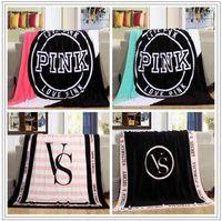 Wholesale Coral Velvet Blanket - 4 Colors 130*150cm Pink Letter Blanket Soft Coral Velvet Beach Towel Blankets Air Conditioning Rugs Comfortable Carpet CCA8688 50pcs