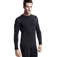 мужское нижнее белье оптовых-Men Plush Base Layer Long Sleeve Slim Fit Thermal Underwear Tops Winter Undershirt